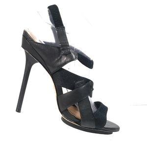 LAMB Women Black Slingback Heel Sandals 8.5 M